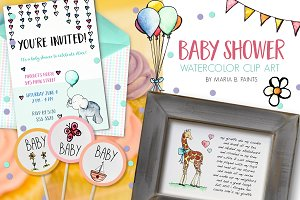 Watercolor Clip Art - Baby Shower
