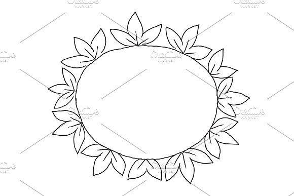 Ornament of leaves frame in circle drawing three sheets in round decor. Place for text. Hand drawn sketch vector stock black line illustration landscape.