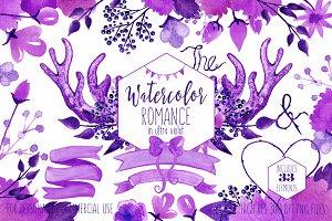 Rustic Ultra Violet Floral Antlers