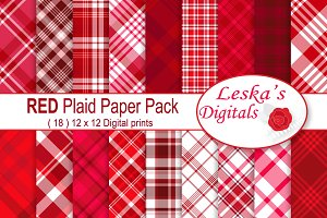 Red Plaid Digital Paper