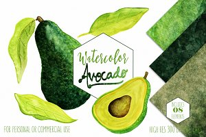 Watercolor Avocado Graphic Set