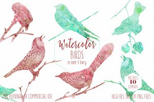Watercolor Texture Bird Shapes