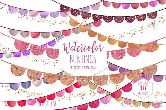 Watercolor Bunting Banner Clipart