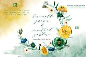 Emerald green & mustard flowers