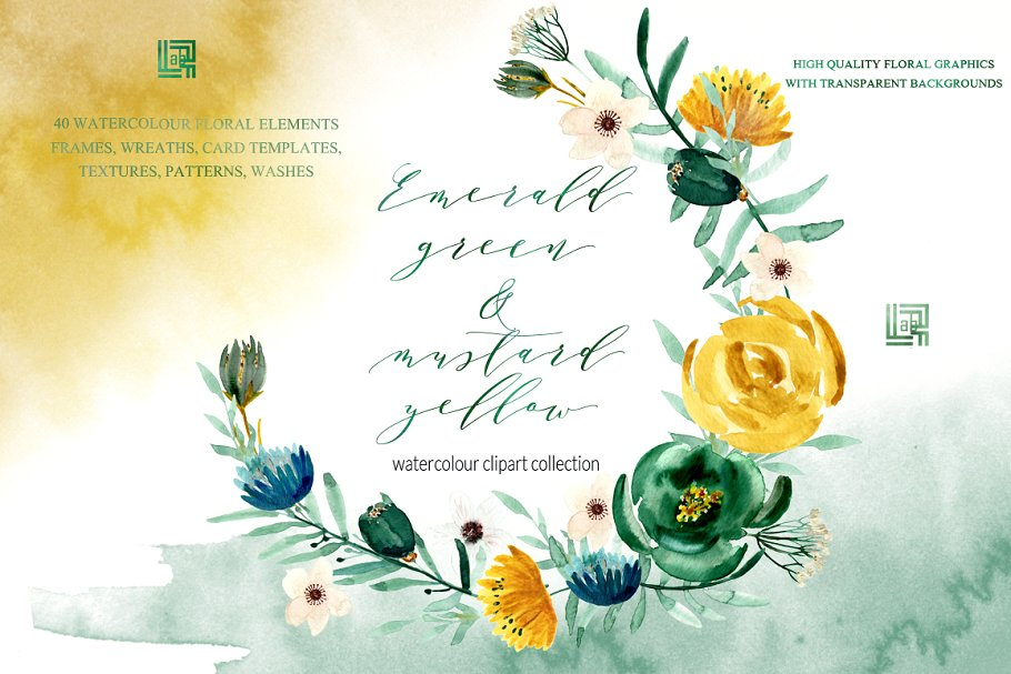 Emerald Green Mustard Yellow Illustrations Creative Market