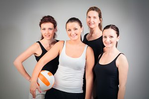 4 Women Playing Volleyball