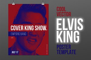 Elvis King Poster + FB cover! PSD+AI