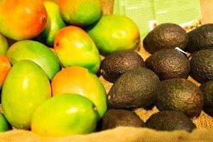 Avocados And Mangos At The Supermarket