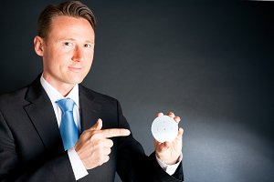 Business Man With Silicon Wafer