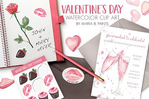 Valentine Watercolor Clip Art