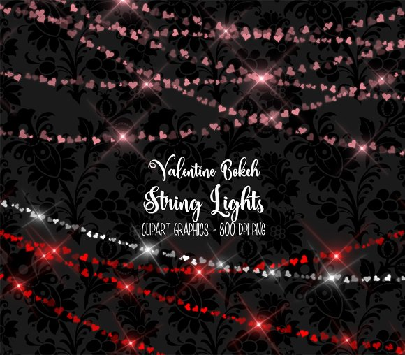 valentine bokeh string lights objects - Valentine String Lights