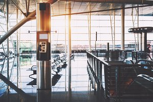 Payphone cabin in airport or depot
