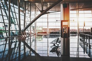 Modern pay phone station, airport