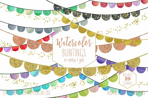 Rainbow Watercolor & Gold Buntings