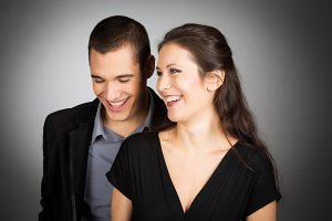 Studio Shot of Laughing Couple