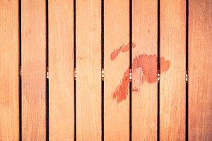 Wet Footprint On Wooden Floor