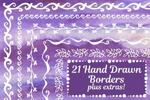 21 Hand drawn vector borders + more!