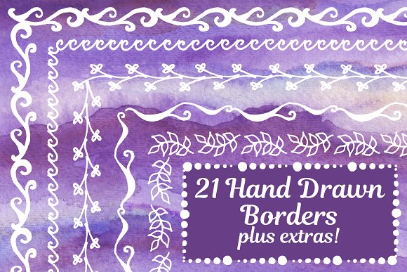 21 Hand Drawn Vector Borders More