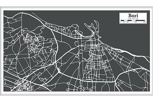 Bari Italy City Map in Retro Style.