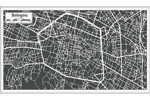 Bologna Italy City Map in Retro