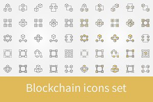 Blockchain icons set