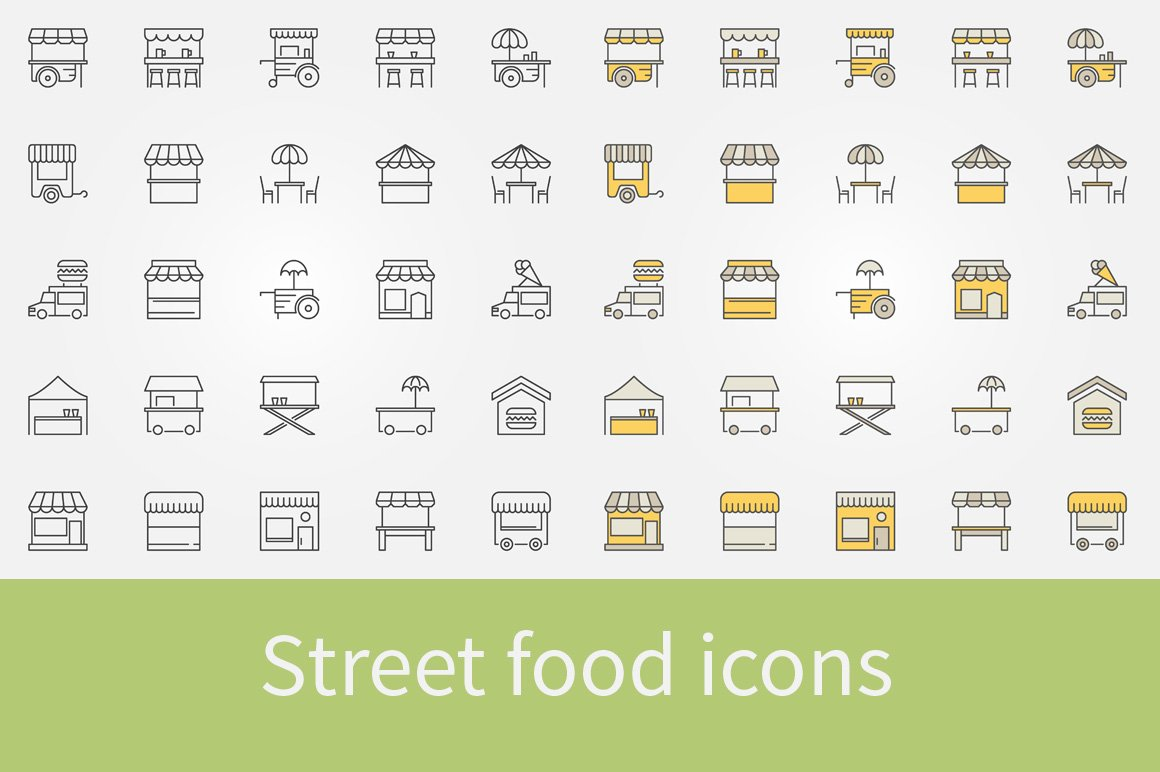 street food outline icons icons creative market