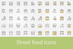 Street food outline icons
