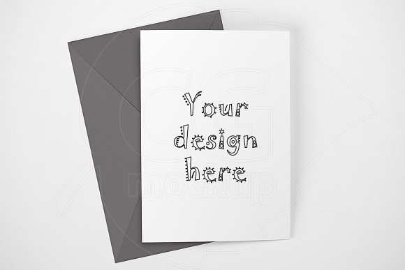 Clean card mock up gray envelope PSD
