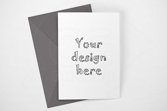 Clean card mock up gray envelope PSD in Print Mockups