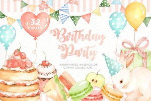 Birthday Party Watercolor Cliparts