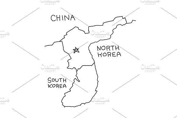 Hand-drawn Map Of North Korea Borders China And South Korea Hand Drawn Vector Stock Illustration
