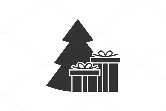 Giftbox At The Christmas Tree Icon