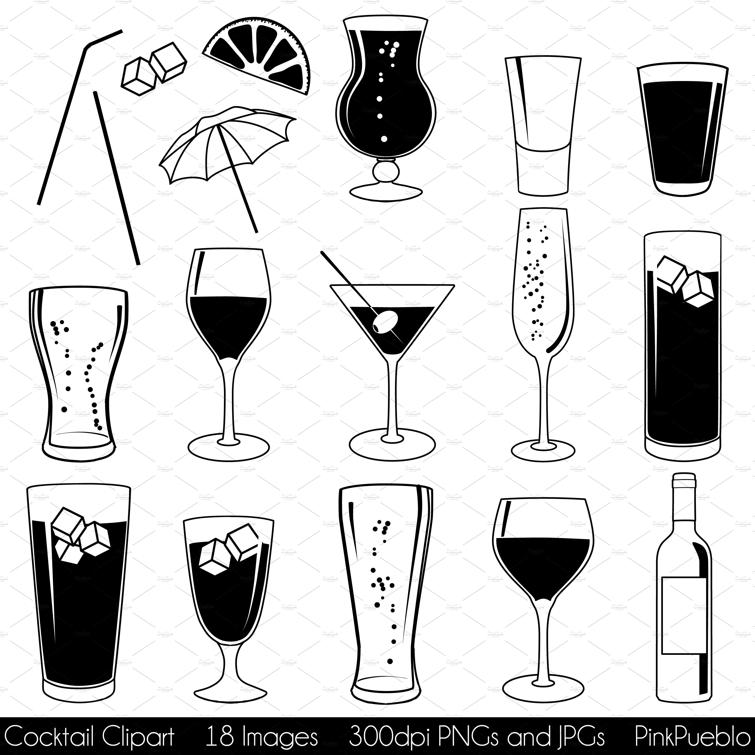 Cocktail vectors illustrations creative market for Paint and cocktails