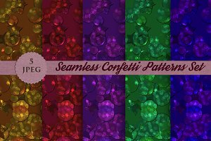 Seamless glitter confetti patterns