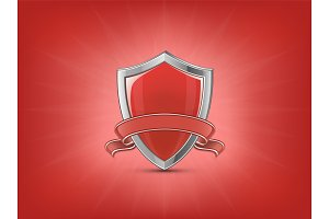 Red shield with ribbon