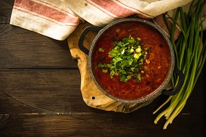 Ukrainian beet red soup -  borscht