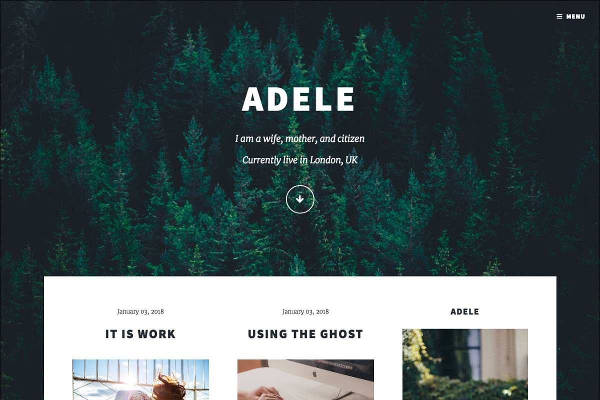 Adele Responsive Blog Ghost Theme