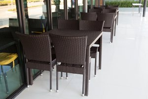 Chairs and tables in a restaurant