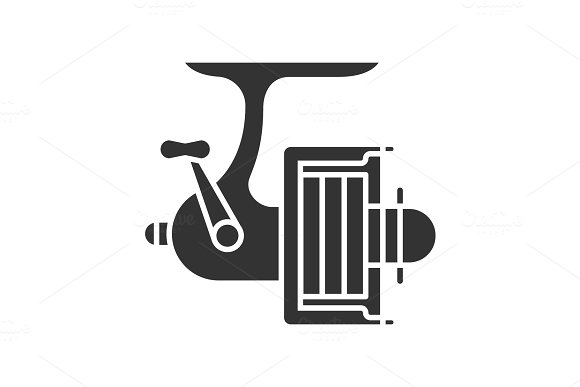 Spinning Reel Glyph Icon
