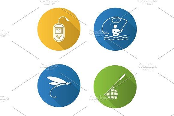 Fishing Flat Design Long Shadow Glyph Icons Set