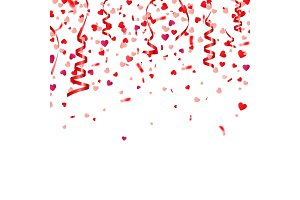 Valentines day red background with hearts. Love symbol. February 14. I love you. Be my valentine. Ribbon. Heart confetti.