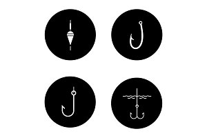 Fishing glyph icons set