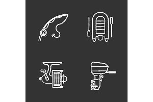 Fishing chalk icons set