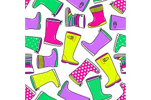 Cute seamless pattern with bright hand drawn rubber boots