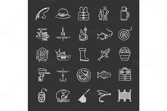 Fishing chalk icons set