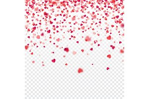 Valentines day red background with blurred hearts. Love symbol. February 14. I love you. Be my valentine. Transparent background. Heart confetti.