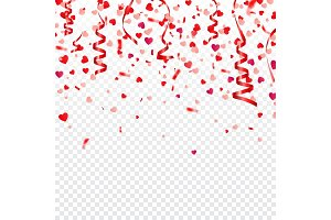 Valentines day red background with hearts. Love symbol. February 14. I love you. Be my valentine. Ribbon. Transparent background. Heart confetti.