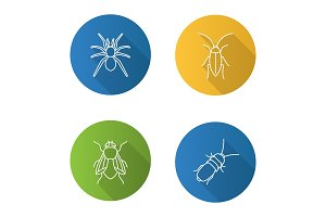 Insects flat linear long shadow icons set