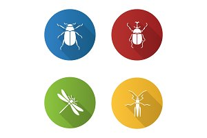 Insects flat design long shadow glyph icons set