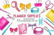 Watercolor Planner Supplies Clipart
